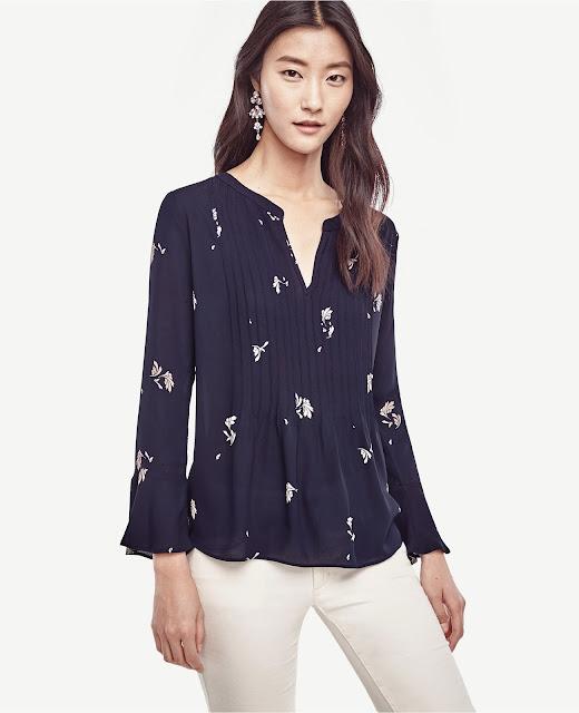 Ann Taylor Petite Pintucked Flounce Bounce Shirt