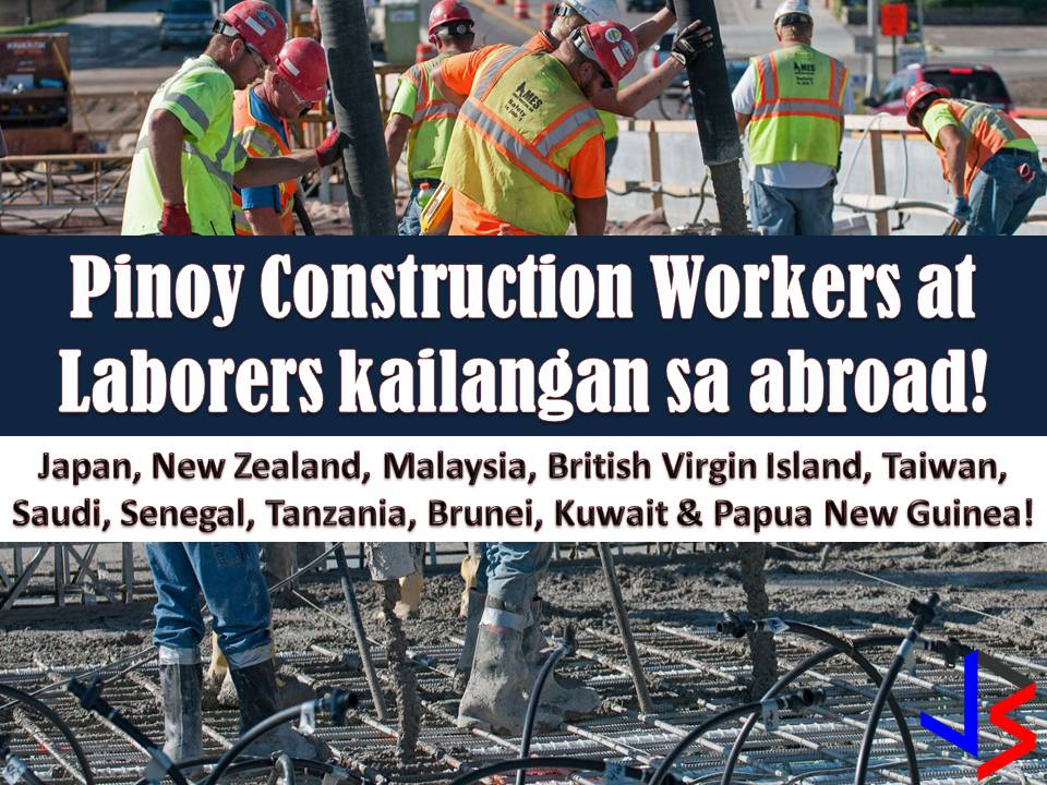 For those who are looking for opportunities to work abroad, here are some jobs you might like to consider. Being a construction worker or laborer in different countries in the world. This January 2018, there are 12 countries currently looking for Filipino laborer and construction workers. The following countries are Japan, Malaysia, Saudi Arabia, Senegal, Tanzania, Kuwait, New Zealand, Taiwan, Brunei, British Virgin Island, Papua New Guinea and Qatar!   Check for the full list below of job orders approved by Philippine Overseas Employment Administration (POEA) this January!  Please reminded that we are not recruitment agencies, all information in this article is taken from POEA website and being sort out for much easier use. The contact information of recruitment agencies is also listed. Interested applicant may directly contact the agencies' representative for more information and for the application. Any transaction entered with the following recruitment agencies is at applicants risk and account.