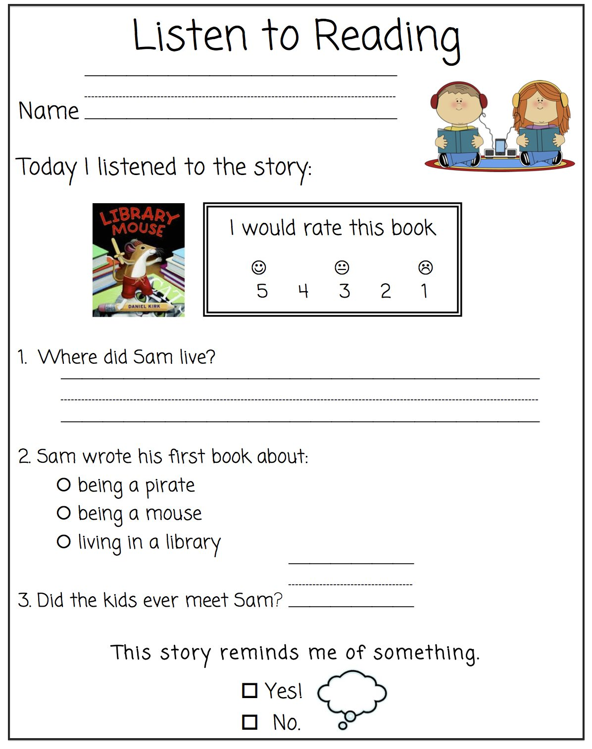 The First Grade Bloom Worksheet For Listening Prehension