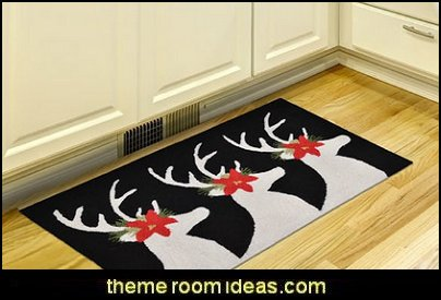 Reindeer Black Area Rug   Christmas decorating ideas - Christmas decor - Christmas decorations - Christmas kitchen decor - santa belly pillows - Santa Suit Duvet covers - Christmas bedding - Christmas pillows - Christmas  bedroom decor  - winter decorating ideas - winter wonderland decorating - Christmas Stockings Holiday decor Santa Claus - decorating for Christmas - 3d Christmas cards