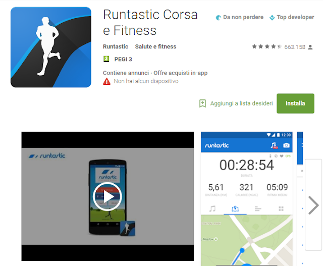 Runtastic Corsa e Fitness screen-shot