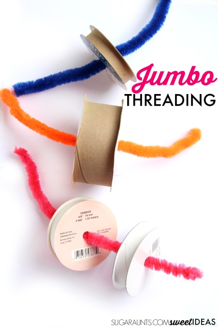 Use large pipe cleaners and recycled ribbon spools to work on fine motor skills on a large scale.