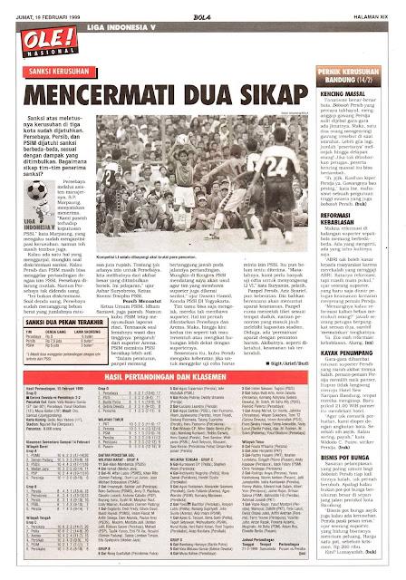 BERITA SEPAKBOLA NASIONAL SANKSI KERUSUHAN DI LIGA INDONESIA V