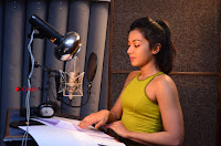 Actress Catherine Tresa Pos during Self Dubbing for Gautham Nanda Movie  0023.JPG