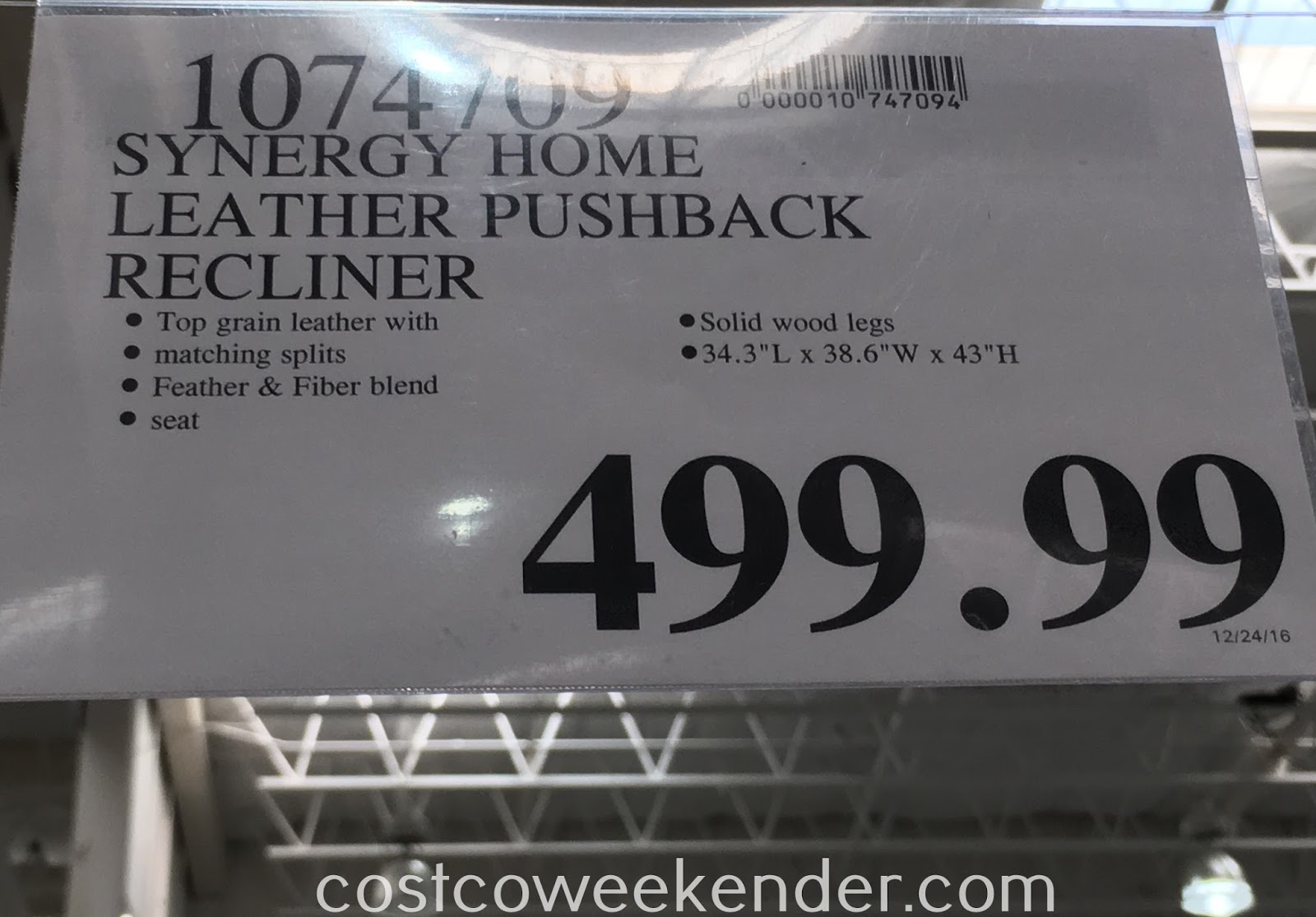 Deal for the Synergy Home Leather Pushback Recliner Chair at Costco