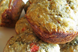 Quinoa Flour Muffins with Roasted Red Peppers and Goat Cheese
