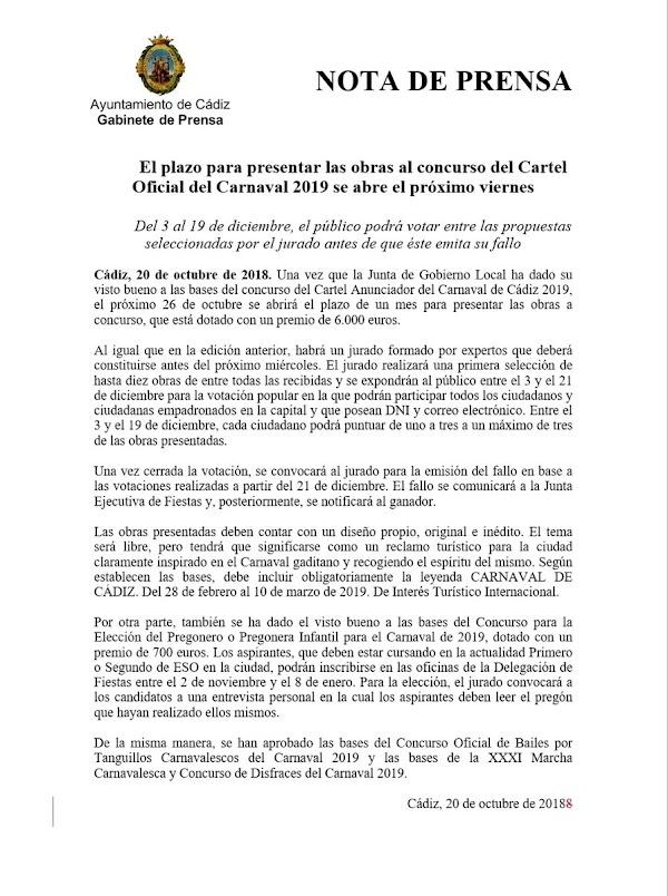 El plazo para presentar las obras al concurso del Cartel Oficial del Carnaval 2019 se abre el próximo viernes