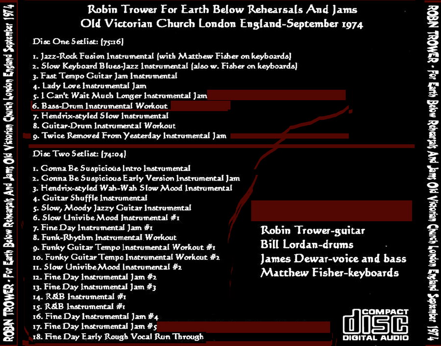 T.U.B.E.: Robin Trower - 1974-09-xx - FOR EARTH BELOW REHEARSALS ...