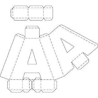 Letra A para ser armada como una caja