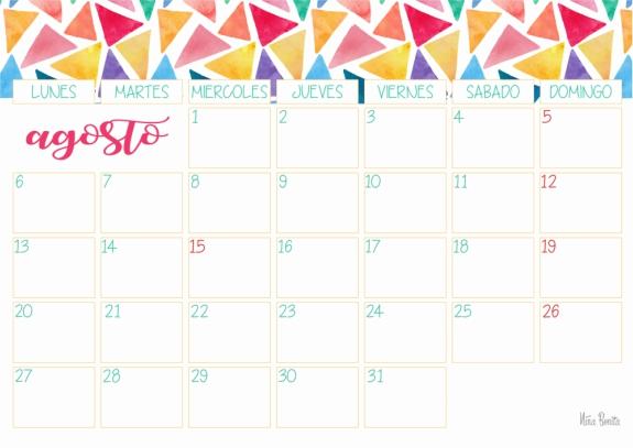 Agosto Calendario.Imprimible Calendario Agosto 2018 Nina Bonita