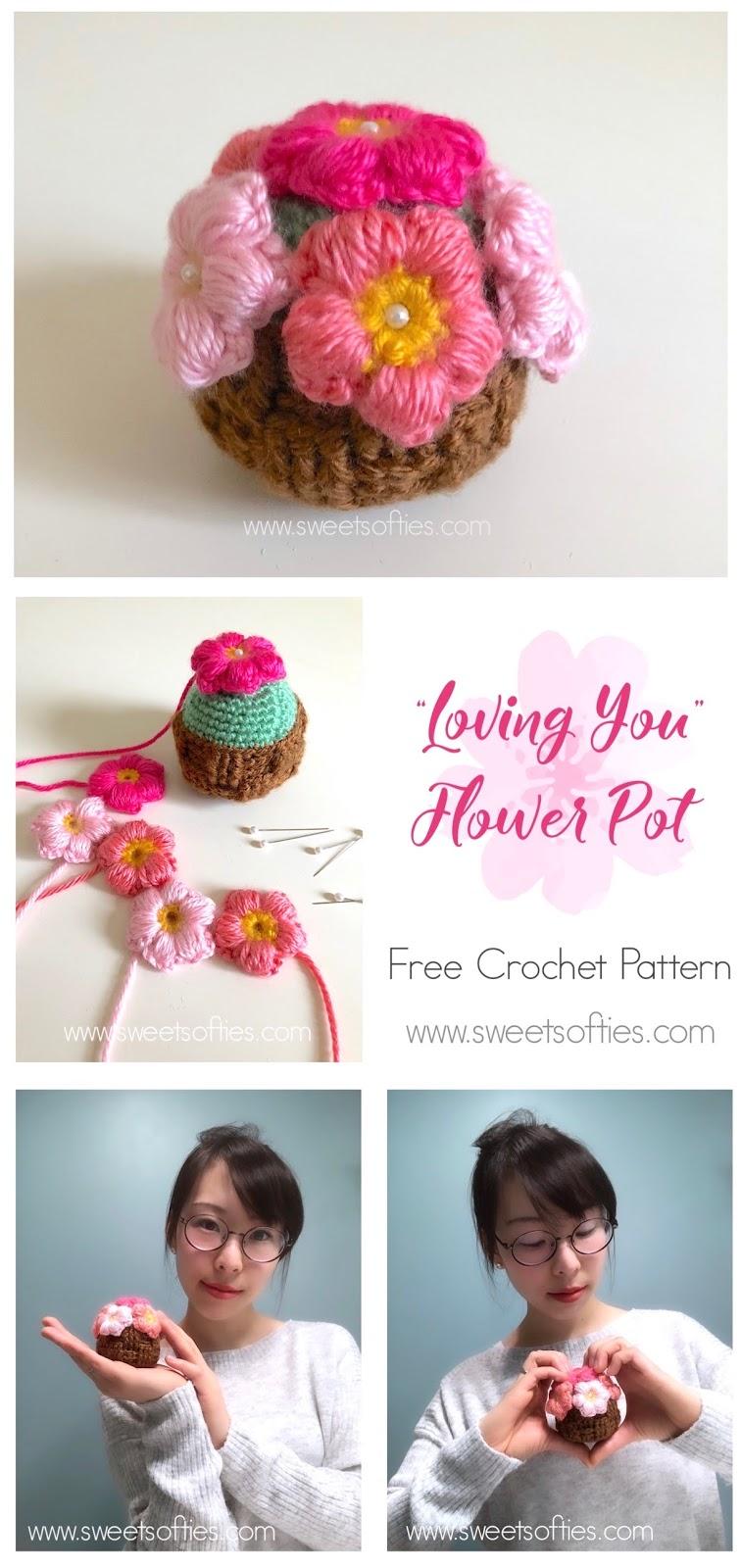 Loving You Flower Pot Free Crochet Pattern Sweet Softies
