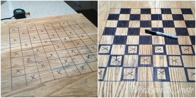 Using a sharpie to mark in squares on chess/checkers board