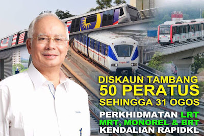 Rapid KL LRT MRT Monorail 50% Discount Offer Promo