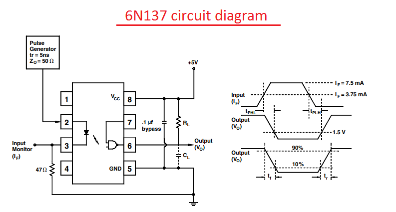 6N136/137 working, application and circuit diagram