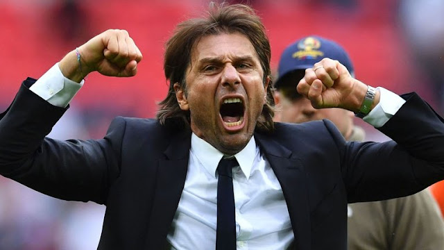 Chelsea Manager Antonio Conte celebrates after beating Spurs at Wembley. PHOTO |SKYSPORTS