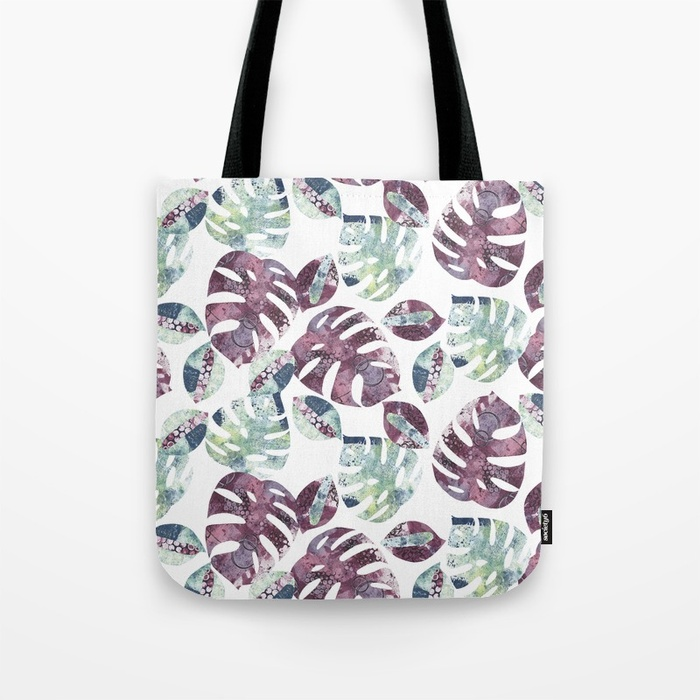 A mock up of a tote with Kim Dellow's Cheeseplant Leaf pattern