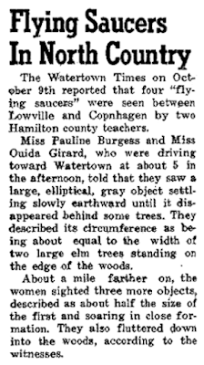 Flying Saucers in North Country - The Racquette. (Potsdam, N.Y.) 10-20-1950