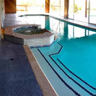 Greatmats Life Floor Slate Tiles on indoor pool deck
