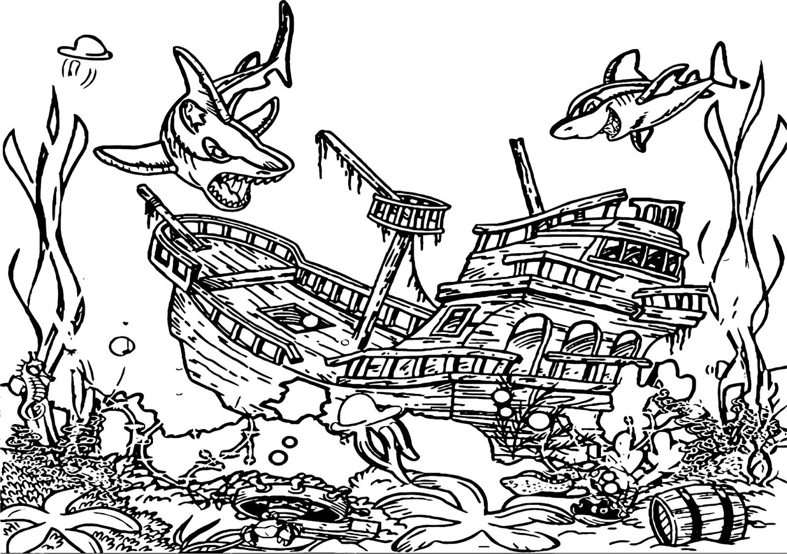 Gambar Mewarnai Pemandangan Bawah Laut Anak TK PAUD SD Terbaru