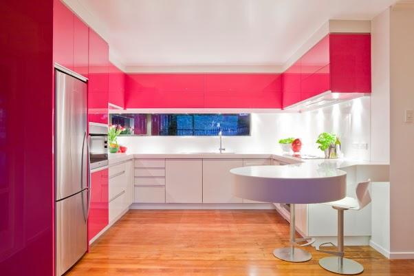 Desain Dapur Modern Minimalis Nuansa Merah 03