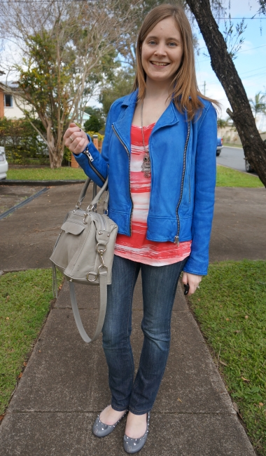 Away From Blue cobalt blue leather jacket red top jeans RM MAM