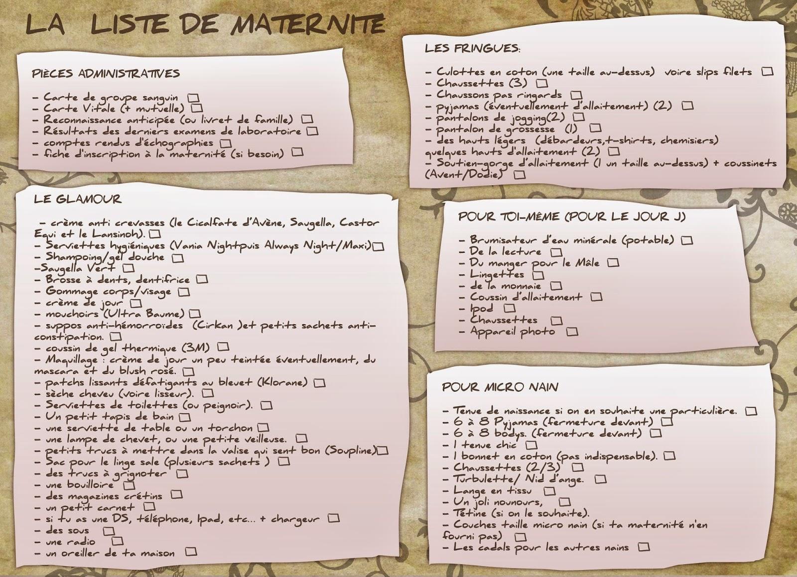 Parfait Les Mamans Testent: LA liste pour la maternité (ou : que mettre  JB94