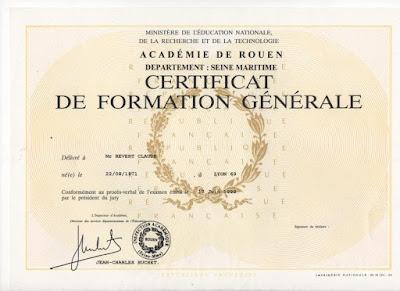 Diplôme du Certificat de Formation Générale (collection privée)