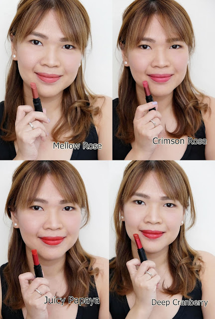 photo of Askmewhats CLIO Mad Matte Lipsticks  review in shades Crimson Rose, Mellow Rose, Juicy Papaya and Deep Cranberry