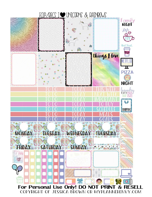 Free Printable I Heart Unicorns & Rainbows Sampler for the Vertical Erin Condren & Recollections Creative Year Planners from myplannerenvy.com
