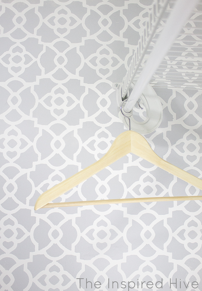 Moroccan stencil wall in a master bedroom closet makeover
