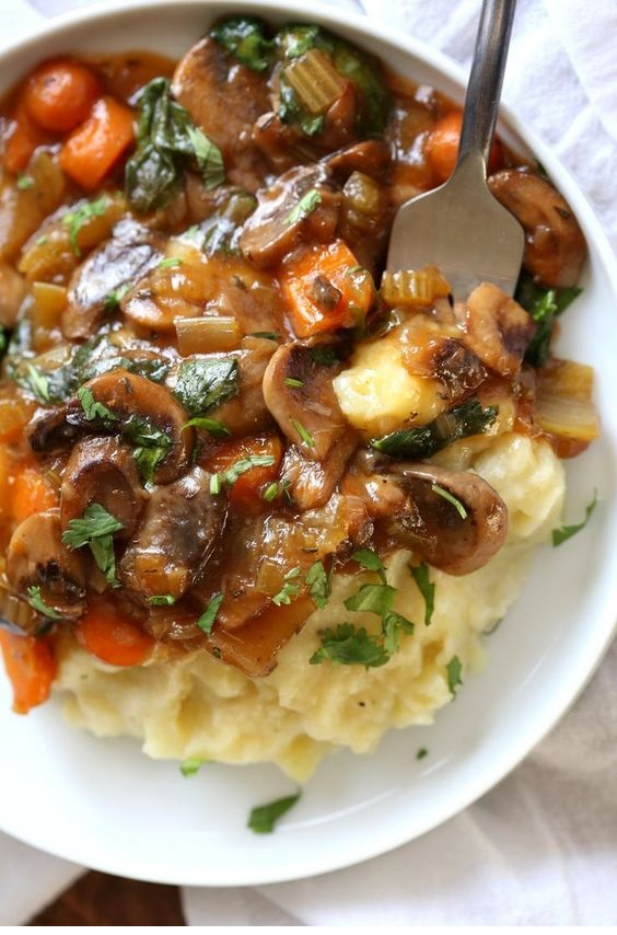 Vegan Mushroom Bourguignon With Potato Cauliflower Mash