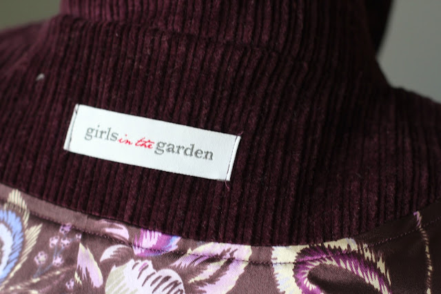Grainline Cascade Duffle Coat made from Sewing Studio Wine Corduroy- tag