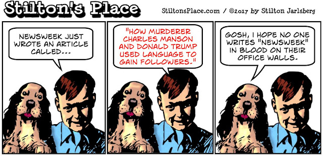 stilton's place, stilton, political, humor, conservative, cartoons, jokes, hope n' change, charles manson, trump, newsweek, murders