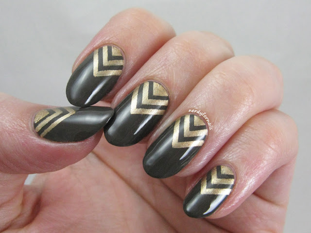 Army green nails with gold stamped chevrons