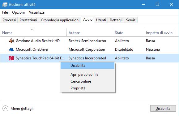 Task Manager Windows 10 disattivare programma avvio