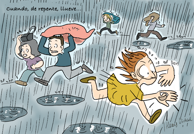Viñeta gráfica de Oreja Voladora: cuando, de repente, llueve