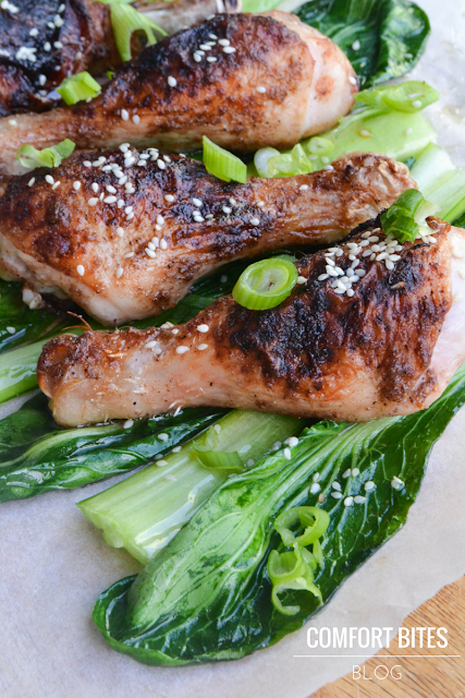 Paleo Chinese Chicken Drumsticks with Sesame Pak Choi
