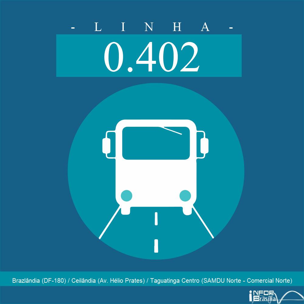 Horário de ônibus e itinerário 0.402 - Brazlândia (DF-180) / Ceilândia (Av. Hélio Prates) / Taguatinga Centro (SAMDU Norte - Comercial Norte)