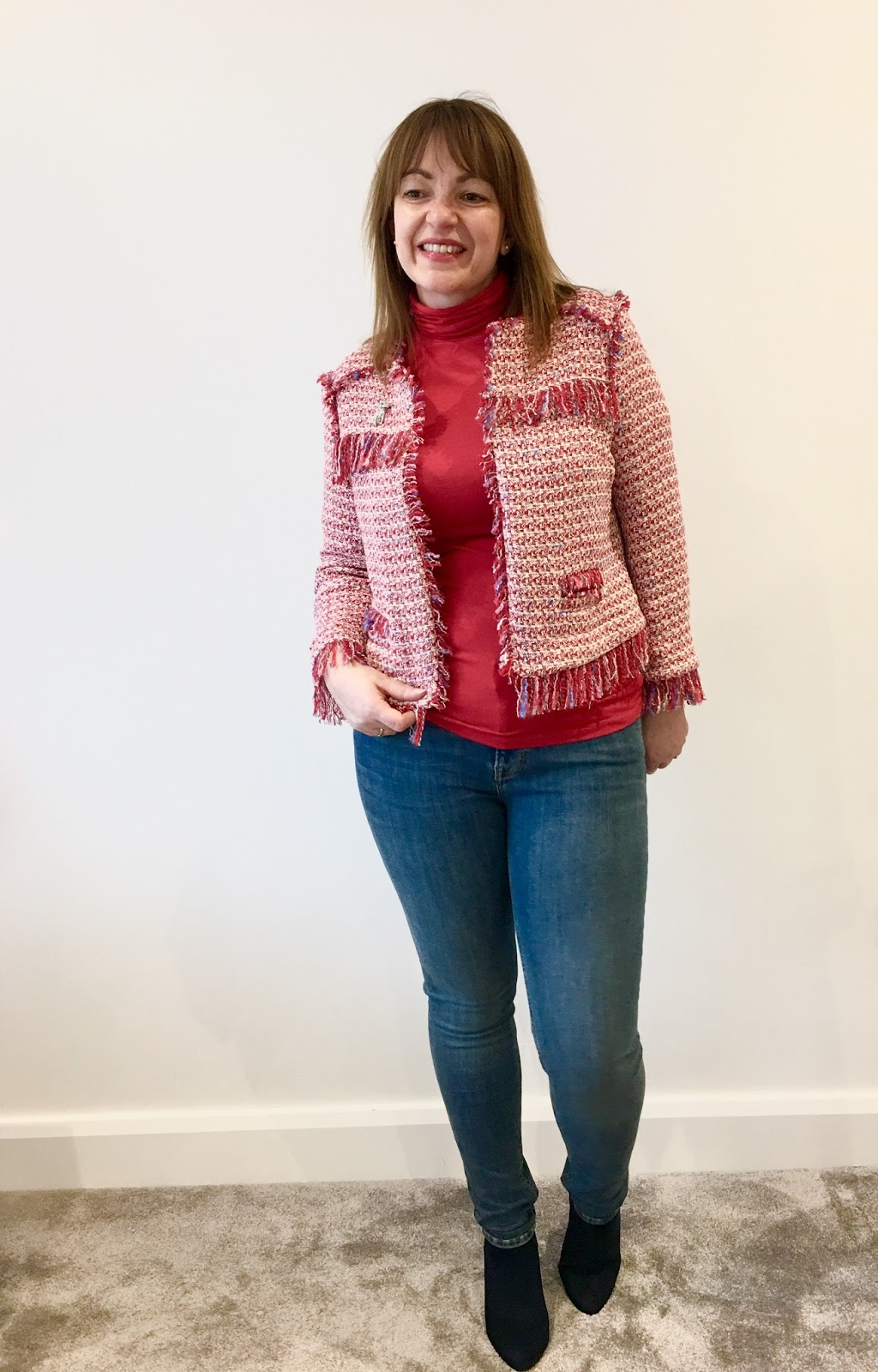 red jacket and jean