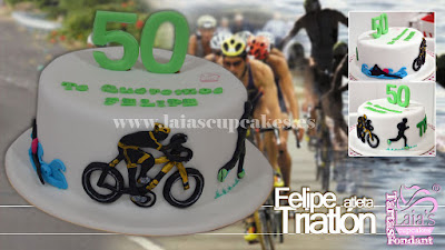 Tarta personalizada fondant triatlón triatleta ciclismo natación maratón Laia's Cupcakes Puerto Sagunto