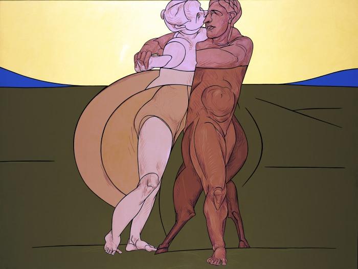 На основе классического экспрессионизма и поп-арта. Valerio Adami