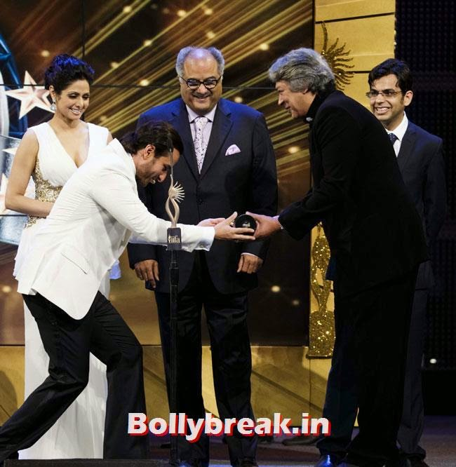 Saif Ali Khan, Sri Devi and Boney Kapoor, IIFA Awards 2014 Pics