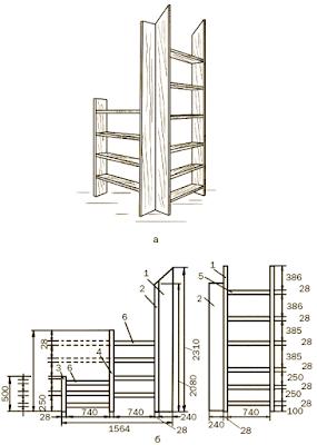 Чертеж - схема стеллажа для мансарды