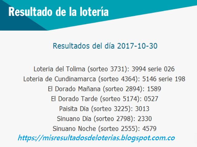 Como jugo la lotería anoche - Resultados diarios de la lotería y el chance - resultados del dia 30-10-2017
