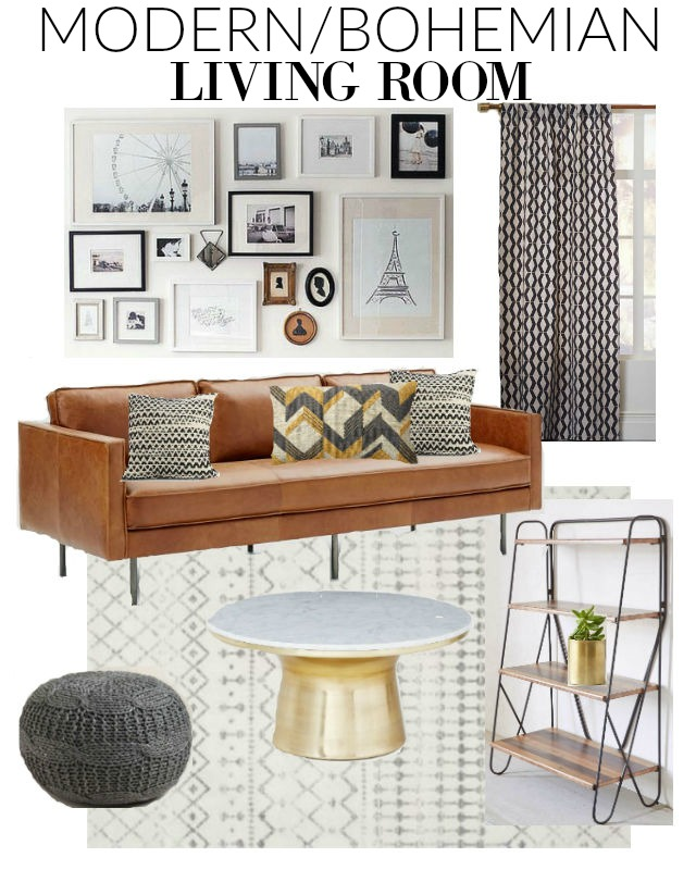 Small Boho Living Room: {Mood Board} Modern Boho Living Room