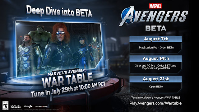 Marvel's Avengers Beta and Second War Table Livestream Information