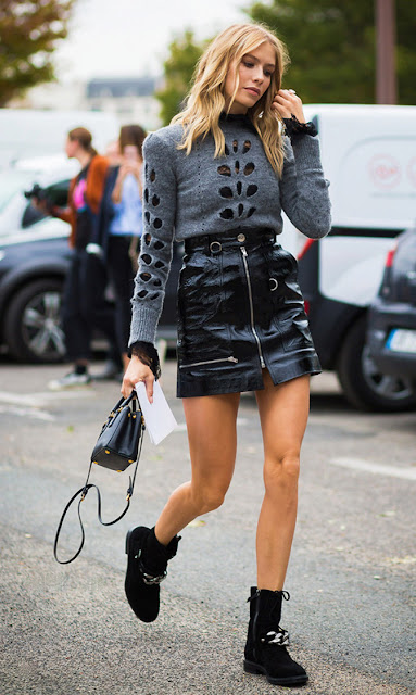patent leather mini skirt street style
