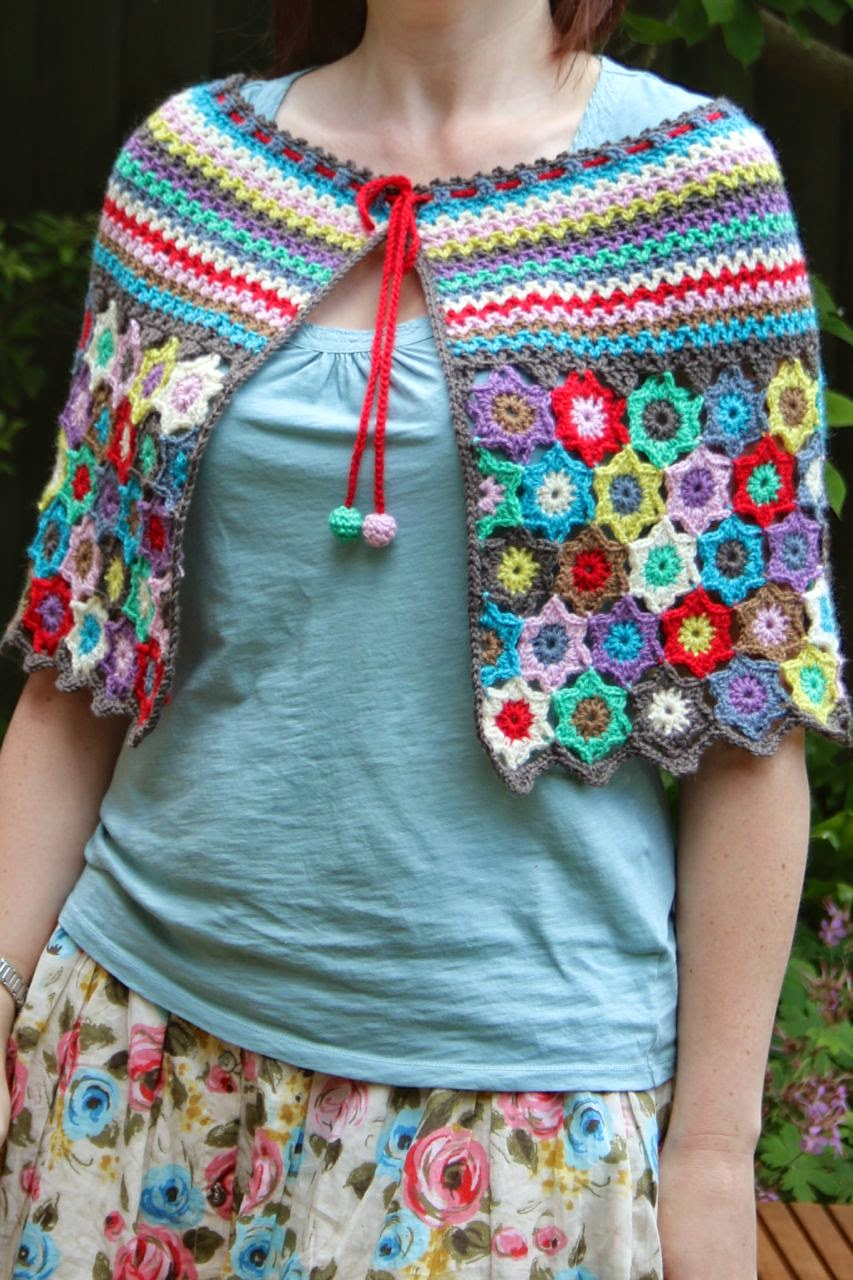 Boho Stars Cape as worn, front view