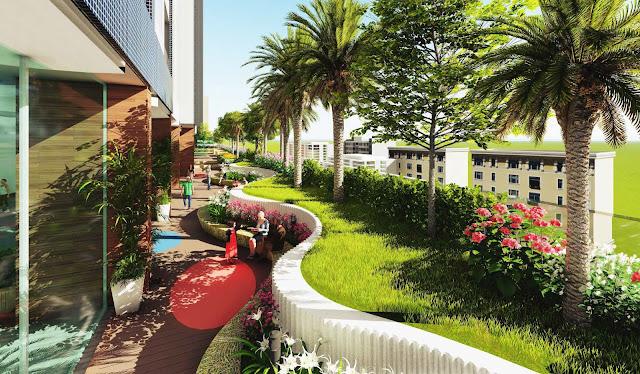 Cảnh quan tiện ích sân vườn tại khu giữa của tầng 10 The Golden Palm