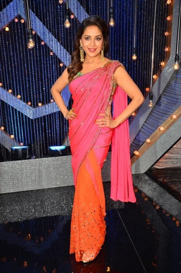 Indian Actress Hot Women Madhuri Dixit Photos In Orange Saree